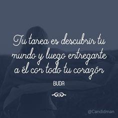 """""""Tu #Tarea es descubrir tu #Mundo y luego entregarte a él con todo tu #Corazón"""". #Buda #FrasesCelebres #Candidman"""