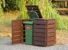 Mülltonnenbox Holz - Holzweise Bin Shed, Garbage Containers, Outdoor Furniture, Outdoor Decor, Outdoor Storage, Canning, Home Decor, Ideas, Woodworking