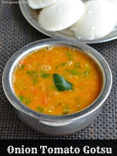Onion Tomato Gotsu or simply called as Thakkali Kosthu is a side dish that's served with idli and dosas that's popular in my native Kumbakonam and Tanjore. Veg Recipes, Cream Recipes, Indian Food Recipes, Vegetarian Recipes, Cooking Recipes, Ethnic Recipes, Recipies, Kerala Recipes, Paneer Recipes