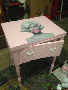 Marilyn Monroe refurbished sewing table white and pink; done by Megan Shomidie@Wooden It Be Lovely