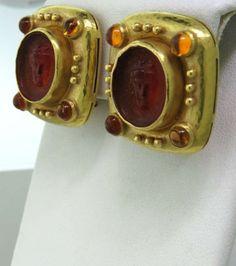 Elizabeth-Locke-Carnelian-Intaglio-Citrine-18k-Gold-Earrings