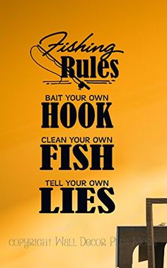 Wall Decor Plus More WDPM3507 Fishing Rules Wall Decal Sticker Quote Sports 23x12 Black ** Learn more by visiting the image link.Note:It is affiliate link to Amazon.