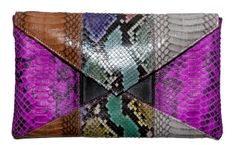 Beirn Envelope clutch w/ multicolor snakeskin Style name: Python Patchwork | cynthia reccord