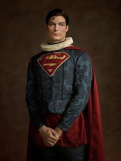 Superman with an Elizabethan make-over! This portrait is part of a series by French photographer Sacha Goldberg. He took superheroes, Star Wars characters, & a few others and transformed them into a portrait you might see hanging on a castle wall. Rembrandt, Star Wars Characters, Comic Book Characters, Comic Books, Disney Characters, Cultura Pop, Sacha Goldberger, Marvel Dc, Iron Man