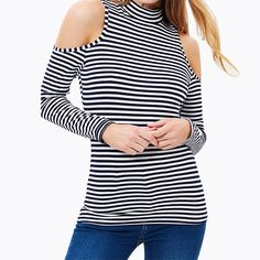 HDY Haoduoyi Sexy Striped Chic Women Basic Tops Autumn Soft Crew Neck Punk Tees Casual Off Shoulder Slim Long Sleeve T-shirt