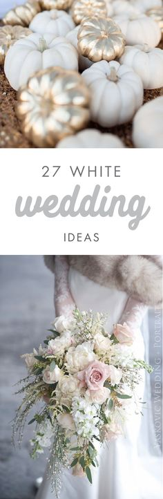 Make your white wedding dreams come true with these 27 White Wedding Ideas. Filled with class and charm, you're sure to find all the inspiration you need to fill your ceremony and reception with stunning floral arrangements and cute details.