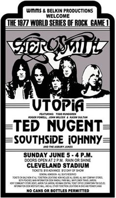 Outdoor Rock Concerts/Festivals: How Did I Survive? Aerosmith Live, Aerosmith Concert, Tour Posters, Band Posters, Music Posters, Event Posters, 70s Rock And Roll, Rock Games, Psychedelic Bands