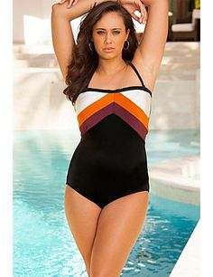20cdd33fcd Cinnamon Color Block Swimsuit by Swim Sexy. Engineered color blocking  breaks up torso and visually