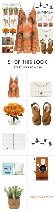 """""""Weather for a dress"""" by chantellehofland ❤ liked on Polyvore featuring Kiss The Sky, Chanel, Nearly Natural, Jayson Home, Henri Bendel, LØMO, Warehouse, Summer, orange and dress"""
