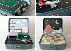 Scenario di gioco per bambini creato con il riciclo delle valigie vintage #DIY #suitcase #vintage #toys
