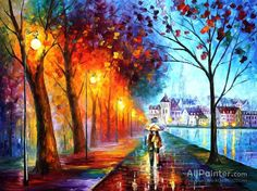 Huge Fine Art - City By The Lake — Palette Knife Romantic Abstract Scenery Oil Painting On Canvas By Leonid Afremov. Lake Painting, Oil Painting On Canvas, Painting Prints, Painting Art, Couple Painting, Painting Portraits, Street Painting, City Painting, Painting Pictures