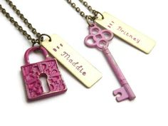 Lock and Key Personalized BFF Necklace  Hand Stamped by StephieMc, $25.99