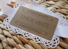 Candy Dessert Buffet Labels Tags Signs / Kraft Light Brown Vintage Lace Rustic Romantic