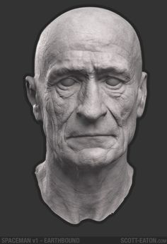 ZBrush digital sculpture of aging man for Spaceman project