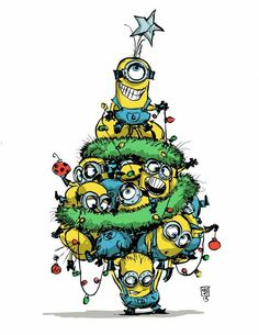 s a very Minion Christmas. I love these little guys. Animated movies have always had the wacky sidekick. Despicable Me raises the bar and has of wacky sidekicks. My son and I have a blast speaking in Minionese. Amor Minions, Cute Minions, Minions Despicable Me, Minions Quotes, Minions 2014, Minion Christmas, Merry Christmas, Christmas Humor, Funny Minion Pictures