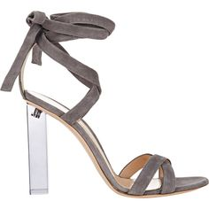 Gianvito Rossi Women's Lucite® Heel Ankle-Tie Sandals Size 9 ($1,125) ❤ liked on Polyvore featuring shoes, sandals, heels, chaussures, gianvito rossi, colorless, clear sandals, grey shoes, grey sandals e open toe sandals