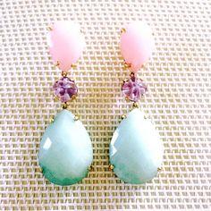 Pendientes de Plata de 1ª Ley bañada en oro con piedras naturales Beaded Earrings, Pearl Earrings, Vintage Fans, Gem S, Stone Jewelry, Jewelry Trends, Jewelry Design, Designer Jewelry, Jewelery