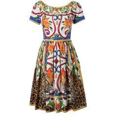 Print Dress (300 KWD) ❤ liked on Polyvore featuring dresses, short sleeve dress, dolce gabbana dress, short sleeve pleated dress, pleated dress and mixed pattern dress
