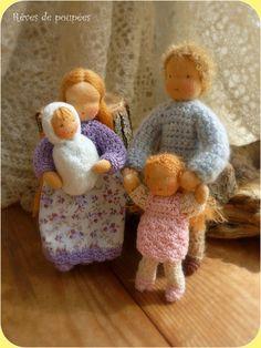 Waldorf  family . Dollhouse dolls .Pocket dolls. por Revesdepoupees