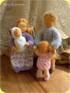 Waldorf  family . Dollhouse dolls .Pocket dolls. por Revesdepoupees