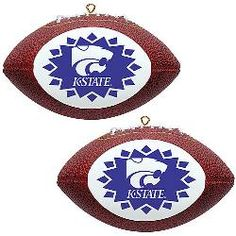 Topperscot Kansas State Wildcats Two Mini Replica Football Ornaments