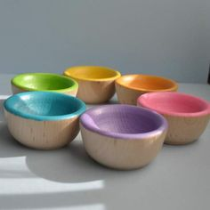 Back to School / Waldorf Toy - The ORIGINAL Bright Wooden Sorting Bowls  -  Montessori Toy / christmasinjuly, via Etsy.
