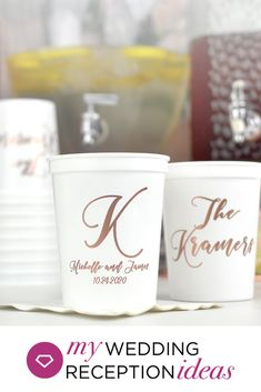 reusable plastic stadium cups personalized with married name initial, bride and groom's name and wedding date for wedding cup favors. Wedding Cups, Wedding Reception, Wedding Venues, Reception Rooms, Reception Ideas, Wedding Rings, Personalized Cups, Wedding Table Decorations, Cup Design