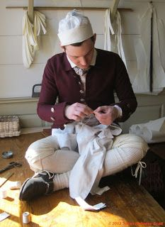 A great blog about 18th century clothing and also Colonial Williamsburg.  This picture is about buckskin breeches.