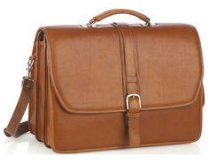 Triple Compartment Briefcase - Tan - In stock - Front View