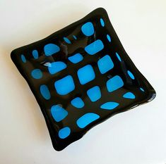Blue and black lattice dish Dichroic Glass, Fused Glass, My Glass, Safe Food, Turquoise, Dishes, Metal, Unique, Handmade