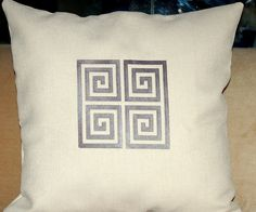 GREEK KEY embroidery pillows covers 50cm sq by letsdecorateonline, $29.50