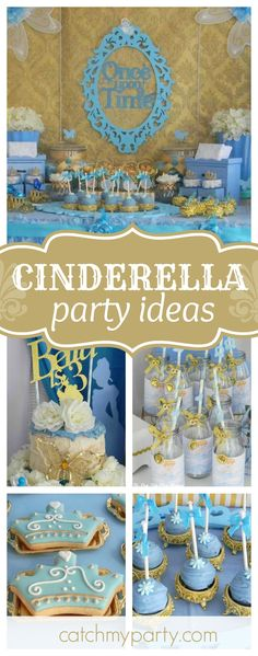 You don't want to miss this gorgeous vintage Cinderella birthday party! The dessert table and sweet treats are amazing!! See more party ideas and share yours at CatchMyParty.com