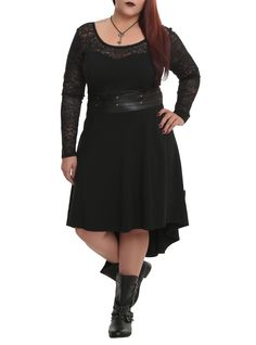 Tripp Black Lace Sleeve Dress Plus Size | Hot Topic