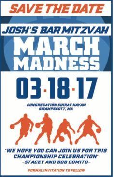 A basketball themed Bar Mitzvah Save the Date.    Basketball Theme | Basketball Bar Mitzvah | Bar Mitzvah Invites