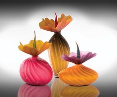 Autumn Trio by Bob Kliss and Laurie Kliss: Art Glass Sculpture available at www.artfulhome.com