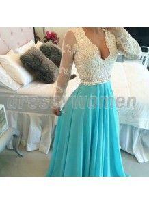 2015 Elegant Column V-Neck Appliques Long Sleeve Prom Dresses CHPD-90056
