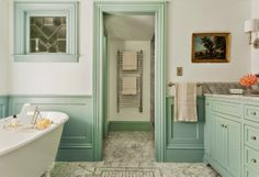 Carpenter and MacNeille; Walls – Parma Gray - satin finish, from Farrow & Ball Cabinets and Trim – Borrowed Light - eggshell finish, from Farrow & Ball
