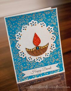 Diwali card - so pretty. Love the paper doily effect (eyfs christmas cards for kids) Handmade Diwali Greeting Cards, Diwali Cards, Diwali Greetings, Diwali Gifts, Happy Diwali, Handmade Cards, Personalised Cards, Diwali Diya, Handmade Gifts