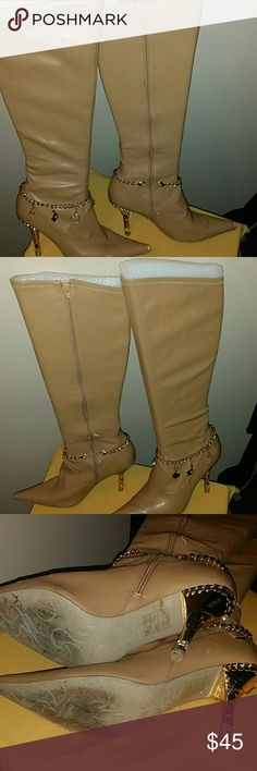 Baby Phat classy tan boots. Some wear & peeling. S 3 inch heels. Tan manmade material. Some peeling on toe of both shoes. All gold hardware completely intact and perfect condition! Baby Phat Shoes Heeled Boots