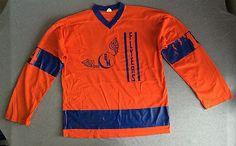 70s CHAMPION Hockey Jersey FLYERS Orange & Blue #14 Nylon Sz 44