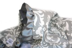 Grey and White Damask Minky Baby Blanket with Satin by babyboos, $50.00