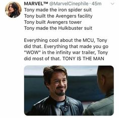 Marvel Studios, LLC is an American motion picture studio based at the Walt Disney Studios in Burbank, California and is a subsidiary of Walt Disney Studios, itself a wholly owned division of The Walt Disney Company,! Marvel Jokes, Avengers Memes, Marvel Funny, Marvel Dc Comics, Marvel Heroes, Marvel Avengers, Iron Man Tony Stark, Dc Memes, Robert Downey Jr