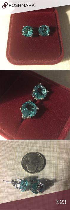 Rich blue aquamarine silver earrings Beautiful blue aquamarine stud earrings face width is 10x10 mm faceted sparkle gorgeous nwot silver inlay to protect stones and prevent tarnish Jewelry Earrings