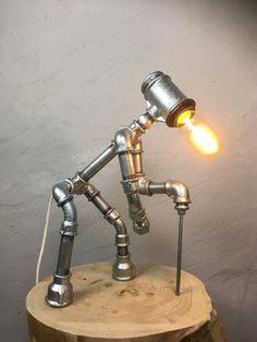 Steampunk Furniture, Steampunk Lamp, House Furniture Design, Pipe Furniture, Wooden Shoe Racks, Sculpture Metal, Diy Light Fixtures, Pipe Lighting, Metal Art Projects