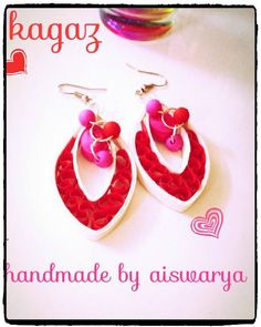 pretty red and white quilled earring