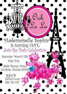 Ooh La La Pink French poodle party invite  PInk and by Babybonbons, $16.00