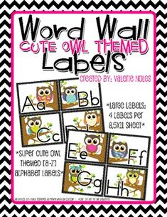 Included in the download are large labels Aa-Zz [4 labels fit on a 8.5x11 sheet of paper] including 2 blank labels with an Owl theme. ...