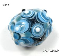 Lampwork bead oval aquamarin and mountain blue ~ Merlinbeads