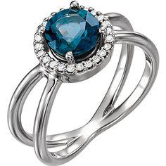 Platinum London Blue Topaz and Diamond Halo Open Ring - DaVinci Emporium
