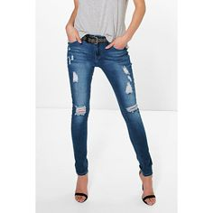 df5654a0833 Boohoo Blue Pamela Mid Rise Distressed Skinny Jeans ( 44) ❤ liked on Polyvore  featuring